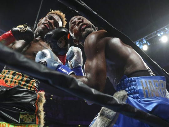 Jermell Charlo didn't leave his rematch with Tony Harrison in the hands of the judges like their first fight, scoring an 11th-round knockout Saturday. Meg Oliphant / Getty Images