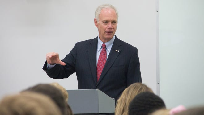 Sen. Ron Johnson speaks to students in AP United States Government and Politics class at Wauwatosa West High School in Wauwatosa, Wis.