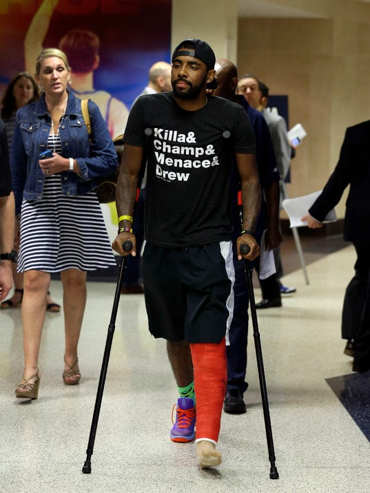 Kyrie Irving labels kneecap injury 'freak play' and transitions to Cavs' No. 1 fan