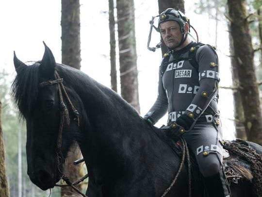 Andy Serkis in his performance-capture suit as Caesar