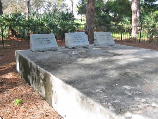 The Ashley Family Cemetery, showing just some of the graves, on what is now part of Mariner Sands property.