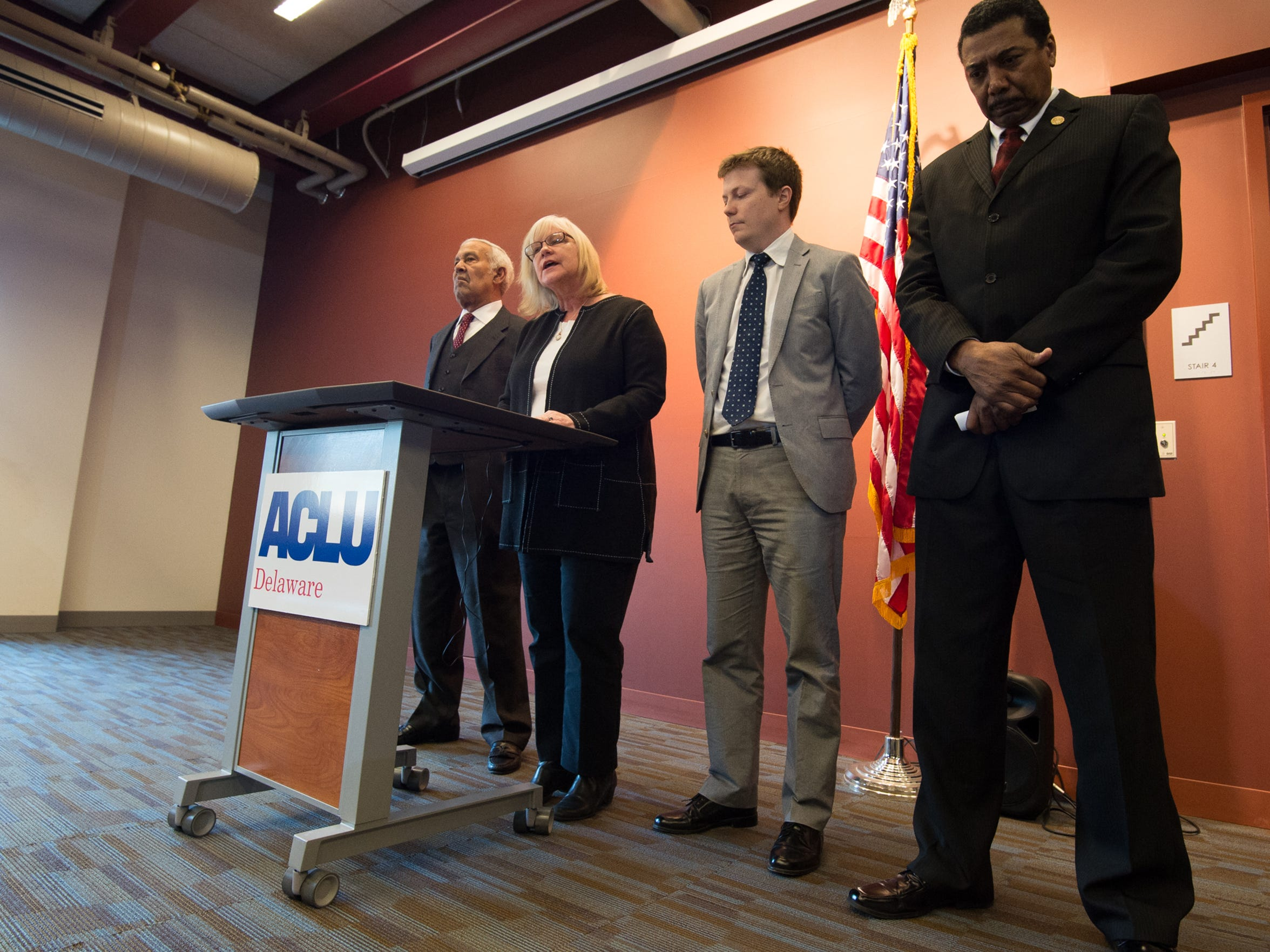 Kathleen MacRae, executive director of ACLU Delaware, speaks during a press conference concerning their lawsuit challenging the state's allocation of resources to schools.