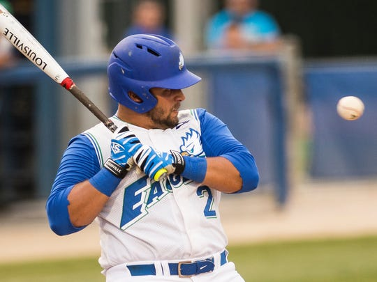 Florida Gulf Coast University's Nick Rivera watches a pitch as it comes close during a game in Fort Myers, Fla., on Saturday, May 13, 2017.