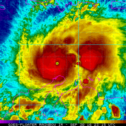 An infrared view of Hurricane Matthew as seen on Friday,