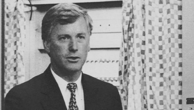 Vice President Dan Quayle exits the voting booth in Huntington, Ind., in 1992.