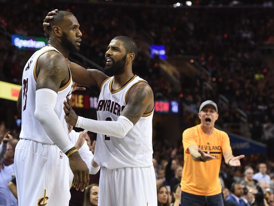 super popular f8f73 53eb6 LeBron James, Kyrie Irving can't get Cavs win over Warriors