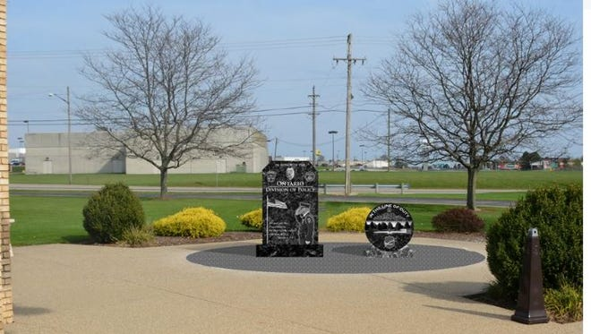 This is a rendering of the proposed law enforcement memorial to be built at Ontario City Hall on Stumbo Road.