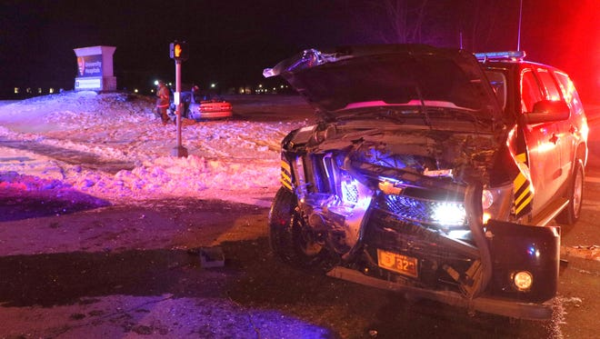 An Ashland County Sheriff's deputy's cruiser was involved in a crash Friday night at U.S. 42 at Mifflin Avenue.