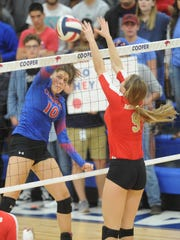 Cooper's Cheyenne Sherwood (10) hits the ball as Lubbock