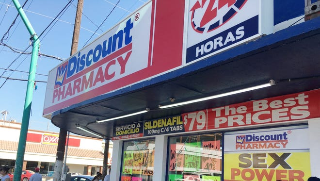Pharmacies in downtown Mexicali, Mexico offer discounts on a variety of medicines.