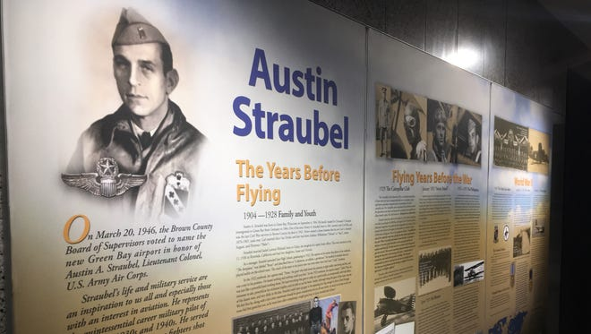 A mural about the life of World War II hero Austin Straubel, a Brown County native, was added in late 2016 to a wall of the baggage claim area in the airport that bears his name.