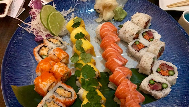 An array of specialty and signature rolls from Brahma Sushi Lounge.