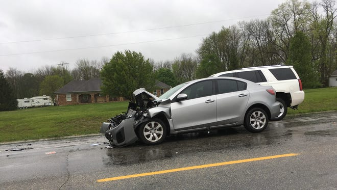 A Mazda was involved in a Friday morning accident on Indiana 1 south of Hagerstown that sent two women to the hospital Friday morning.