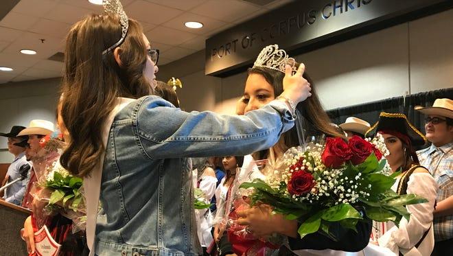Outgoing Miss Buc Days 2016 Cassie Peña crowns Miss Buc Days 2017 Meagan Harrington on Saturday, May 6, 2017.
