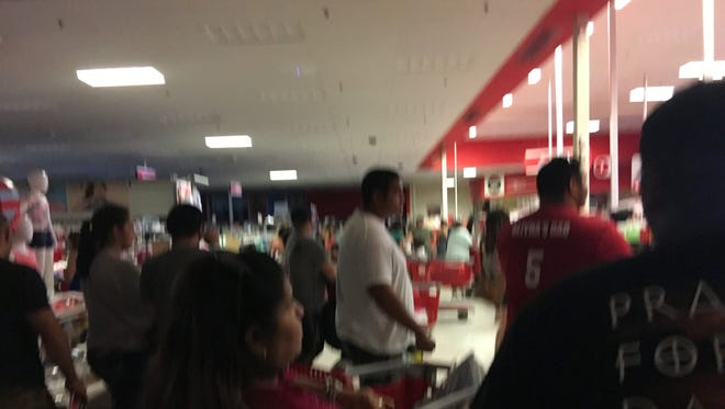 Power was out at the stores in Moore Plaza, including Target, after a possible transformer blew on Saturday,  May 13, 2017.