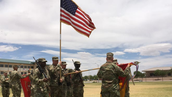 The command team from 3rd Armored Brigade Combat Team uncased the brigade colors last week, signifying the unit's official return from deployment to the Middle East.