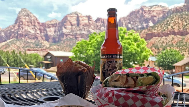 The patio of Hoodoos General Store in Springdale provides beautiful views of the cliffs of Zion National Park.