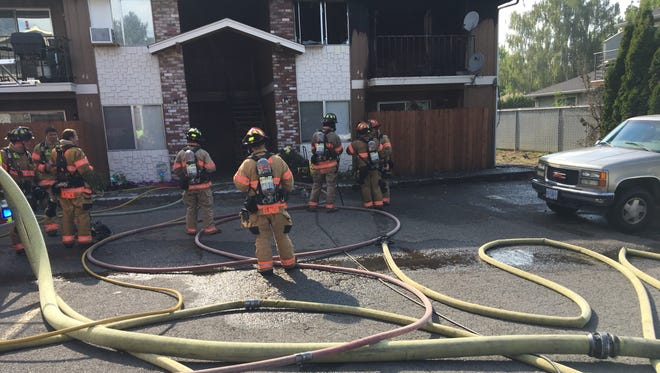 Salem Police and Fire Departments on scene of an apartment fire in the Chandelle Apartment Complex located at 3755 Hawthorne Avenue NE on Saturday, August 5, 2017.