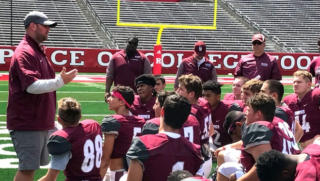 Mike Teel addresses  Don Bosco Prep after the scrimmage against Millville.