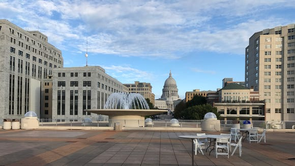 The top of Monona Terrace offers a superb view of the Wisconsin's capitol.