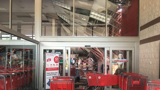 The Target store at Market Square in south Fort Myers sustained a partial roof collapse from Hurricane Irma. The collapse is on the side of the store closest to Barnes & Noble.