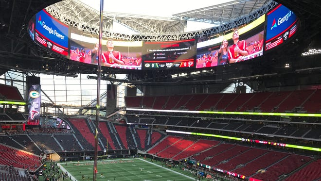 Mercedes-Benz Stadium before the start of the Packers-Falcons game.