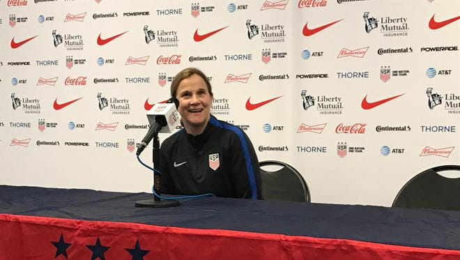 United States women's national team head coach address media Sept. 18 on the eve of her side's Sept. 19 match against New Zealand at the University of Cincinnati's Nippert Stadium.