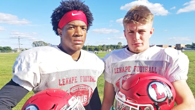 Lenape senior outside linebackers Shane Scott, left, and Zach Cole, right, have helped the Indians allow a paltry two points and 97.3 yards per game.