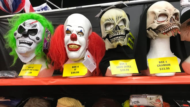 Some of the Halloween masks on display at The Party Box in Lodi.
