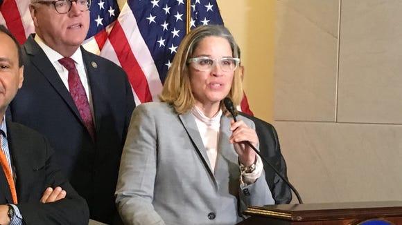 San Juan Mayor Carmen Yuliz Cruz speaks Wednesday on
