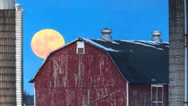 This blue moon rises over a barn in Waukesha County in late February.