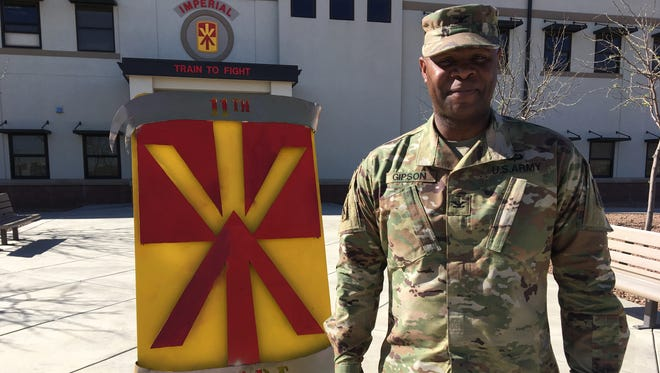 """Col. Issac """"Ike"""" Gipson is the commander of the 11th Air Defense Artillery Brigade. Gipson and his headquarters are deployed in the Middle East. He recently returned to Fort Bliss to check on the readiness of the troops that remained behind and to conduct a battalion change of command."""