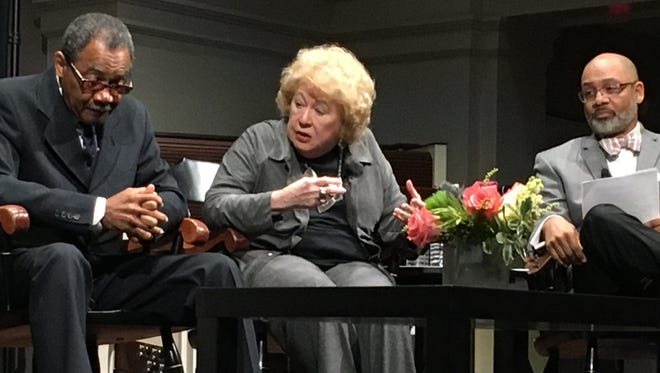 Jocelyn Dan Wurzbug (center) speaks with Calvin Taylor (left) as moderator Russ Wigginton looks on during a March 27, 2018 panel about the legacy of the Martin Luther King Jr. assassination.