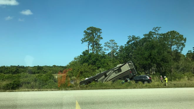 An RV and a passenger car crashed Friday on northbound Interstate 95