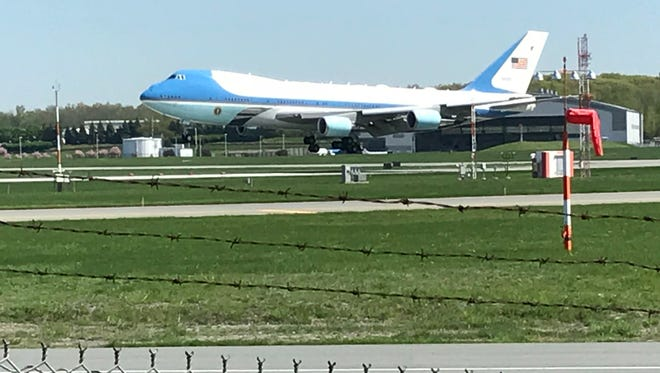 A possible future Air Force One practices take-offs and landings at Stewart International Airport on Wednesday.