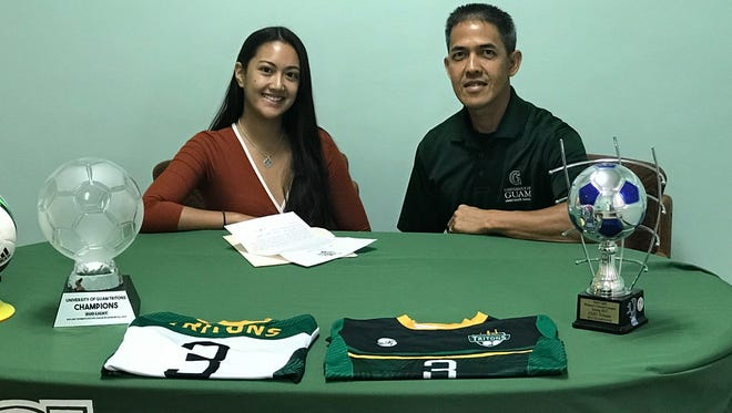 Left: Aiyana Shedd with University of Guam Women's Soccer Coach Rod Hidalgo.