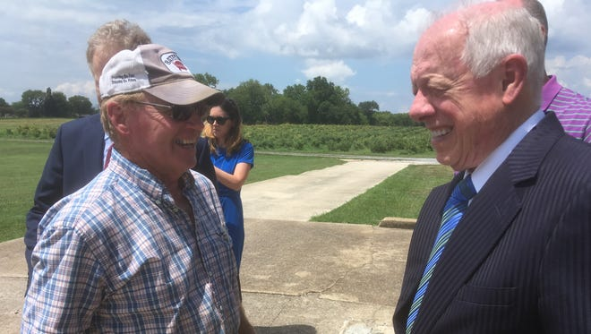 Democratic U.S. Sen. candidate Phil Bredesen, right, chats with Rutherford County farmer John L. Batey at The Grove at Williamson Place. Bredesen recently met with faith leaders at The Grove to hear their views about immigration on July 23, 2018.