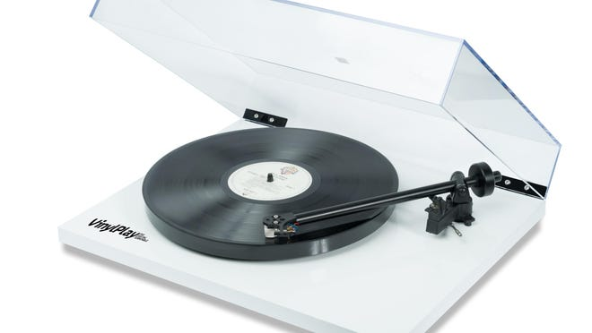 Designed with a hand-assembled tone arm and a moving magnetic cartridge, the VinylPlay Turntable from Flexson treats your albums with gentle respect.