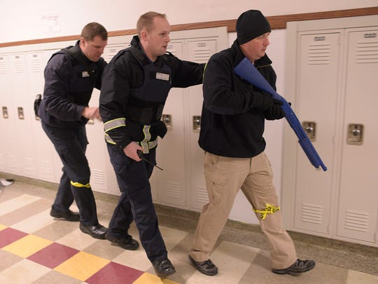 Farmington Public Safety sergeant Shane Wash leads his team during a Rescue Task Force (RTF) training.
