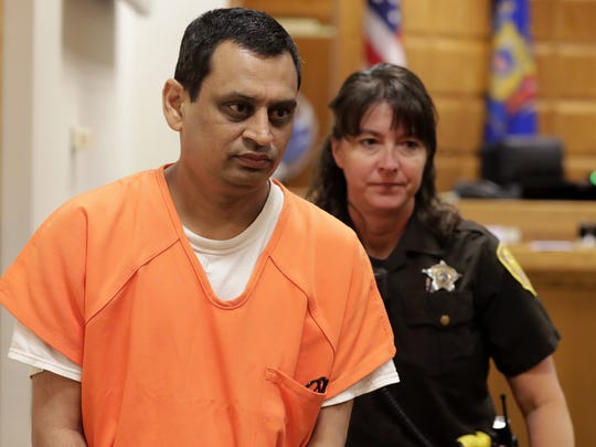 Manishkumar Patel appears in court for his preliminary hearing in Outagamie County. Patel, 46, was convicted of attempted homicide of an unborn child after he put an abortion-inducing drug in his girlfriend's drink.