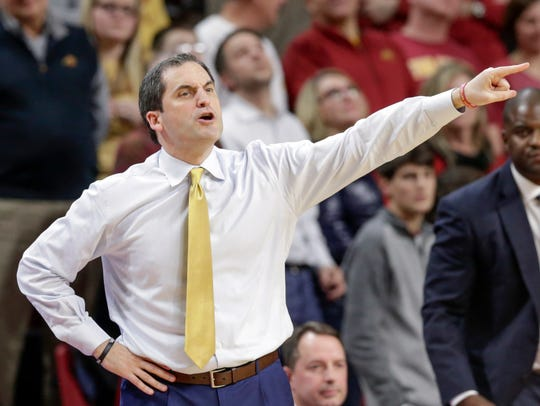 Iowa State coach Steve Prohm calls instructions during