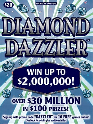 A Wayne County man's 2-million winning Diamond Dazzler instant lottery ticket.