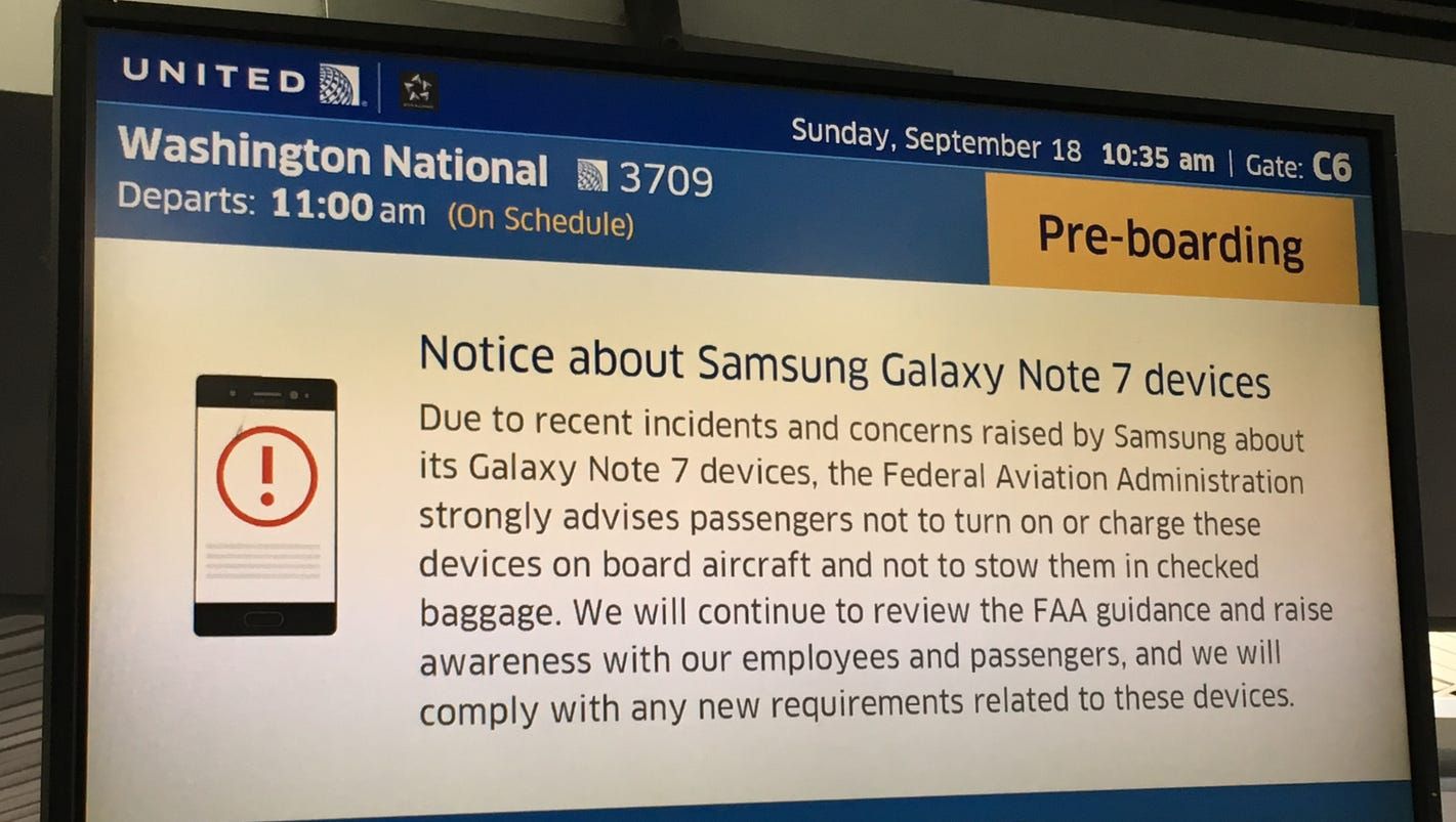 samsung galaxy note 7 banned on all u s flights due to fire hazard
