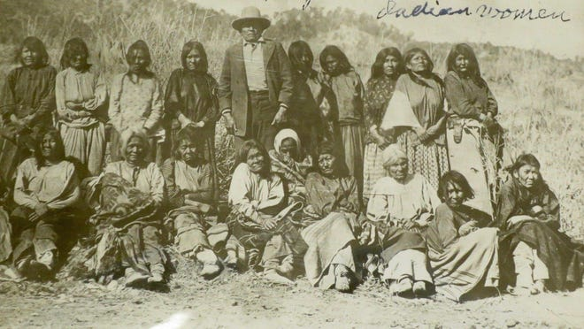 "Magoosh, pictured here with Mescalero Apache women, was chief of a Lipan Apache band, but his band went through several severe epidemics, then split into two groups. Magoosh took refuge with Mescalero in 1870. He lived to be 94 and died in 1915. These are the kinds of stories told in ""Caprock Chronicles,"" a newspaper series about West Texas history."