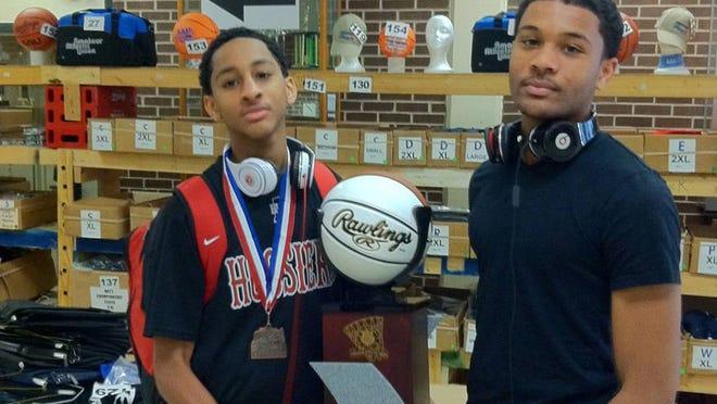 Vijay and James Blackmon Jr. following an AAU Boys Basketball National Championship.