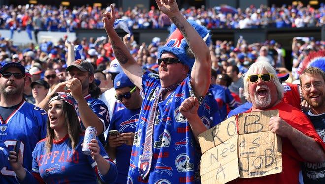 Buffalo Bills fans celebrate at New Era Field.