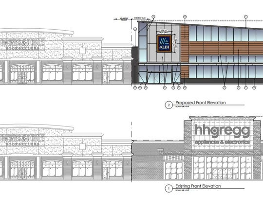 The after-and-before renderings of what Aldi wants to do with the former hhgregg big box at 2496 S. Oneida St.
