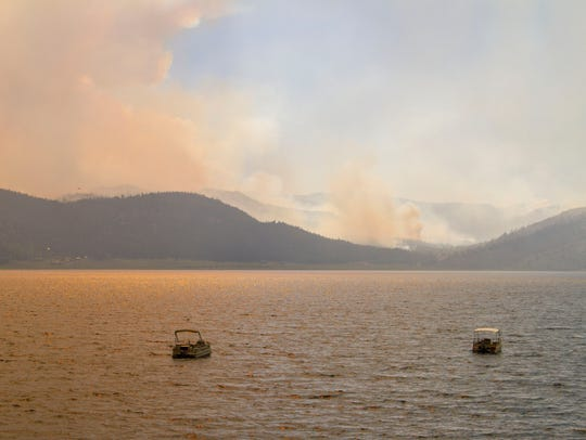 A view of Panguitch Lake with the Brian Head fire burning