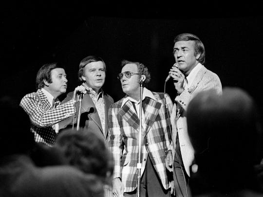 The Jordanaires, with members Gordon Stoker, left, Hoyt Hawkins, Neal Matthews Jr. and Ray Walker, performing at the reunion show of the Country Music Fan Fair at Municipal Auditorium June 14, 1974. The show had stars of the 1940s and 1950s sing the tunes that brought them fame.