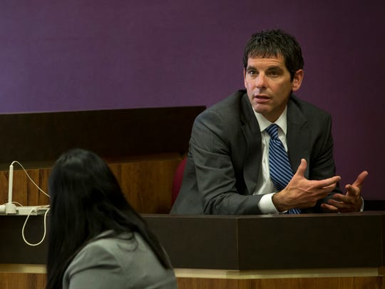 Medical Examiner Daniel Spitz testifies during the trial of Hilery and Andrew Maison Friday, Jan. 22, 2016 in the courtroom of Judge Daniel Kelly at the St. Clair County Courthouse in Port Huron. The Maisons are charged with first-degree child abuse, torture and felony murder in the death of 5-year-old Mackenzie Maison. They also face first-degree child abuse and torture charges in the alleged abuse of her younger sister, Makayla Maison.